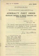 Admiralty Fleet Orders 1942 - 3843
