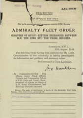 Admiralty Fleet Orders 1943 - 3888