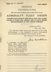 Admiralty Fleet Orders 1945 - 3989