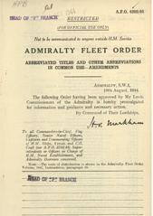 Admiralty Fleet Orders 1944 - 4202