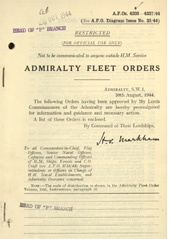 Admiralty Fleet Orders 1944 - 4203-4337