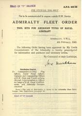Admiralty Fleet Orders 1943 - 438