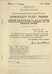 Admiralty Fleet Orders 1943 - 4392