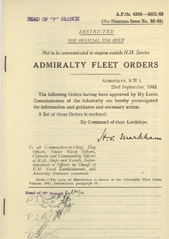 Admiralty Fleet Orders 1943 - 4393-4521