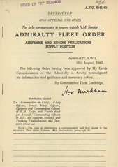 Admiralty Fleet Orders 1945 - 4541