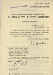Admiralty Fleet Orders 1942 - 4696