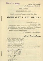 Admiralty Fleet Orders 1943 - 4785-4902