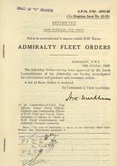 Admiralty Fleet Orders 1943 - 4785-4902