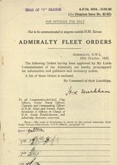 Admiralty Fleet Orders 1942 - 4954-5108
