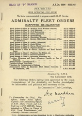 Admiralty Fleet Orders 1945 - 4996-5015