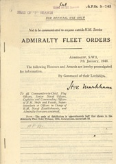 Admiralty Fleet Orders 1943 - 5-7
