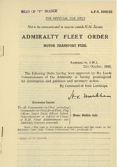Admiralty Fleet Orders 1943 - 5050