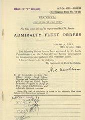 Admiralty Fleet Orders 1943 - 5051-5164