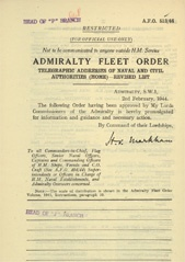 Admiralty Fleet Orders 1944 - 513