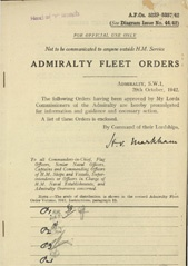 Admiralty Fleet Orders 1942 - 5239-5357