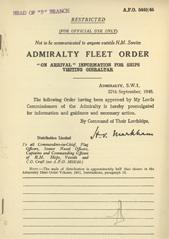 Admiralty Fleet Orders 1945 - 5449