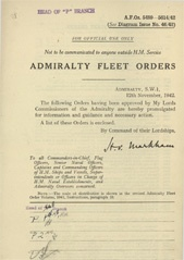Admiralty Fleet Orders 1942 - 5489-5614