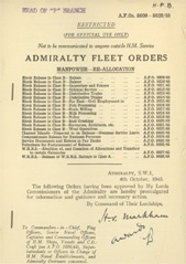 Admiralty Fleet Orders 1945 - 5609-5628