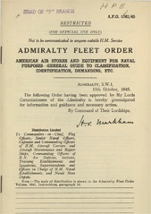 Admiralty Fleet Orders 1945 - 5761