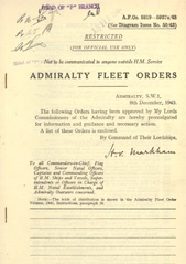 Admiralty Fleet Orders 1943 - 5819-5937