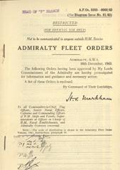 Admiralty Fleet Orders 1943 - 5939-6068