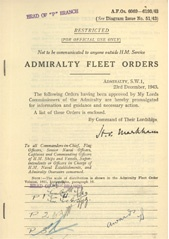 Admiralty Fleet Orders 1943 - 6069-6193