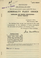 Admiralty Fleet Orders 1944 - 6124