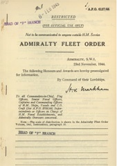 Admiralty Fleet Orders 1944 - 6127