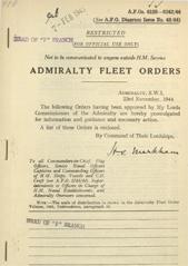 Admiralty Fleet Orders 1944 -6128-6242