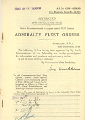 Admiralty Fleet Orders 1943 - 6196-6306
