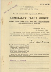 Admiralty Fleet Orders 1943 - 6307