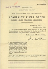 Admiralty Fleet Orders 1943 - 6308
