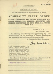 Admiralty Fleet Orders 1944 - 648