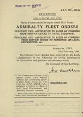 Admiralty Fleet Orders 1944 - 652-653
