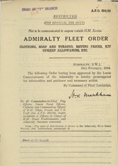Admiralty Fleet Orders 1944 - 654