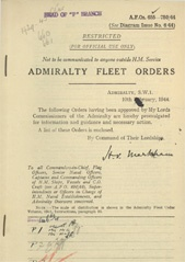 Admiralty Fleet Orders 1944 - 655-780