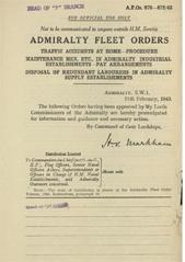 Admiralty Fleet Orders 1943 - 670-672