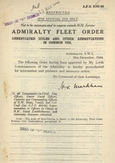 Admiralty Fleet Orders 1944 - 6783