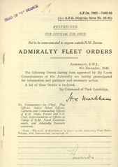 Admiralty Fleet Orders 1945 - 7002-7109