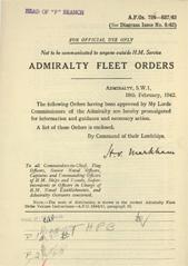 Admiralty Fleet Orders 1942 - 726-837
