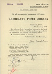Admiralty Fleet Orders 1942 - 838-971
