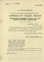 Admiralty Fleet Orders 1943 - 887