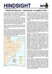 Hindsight Issue 4 - Operation SOLACE - RAN Relief to Somalia 1993.