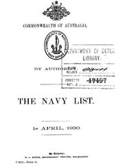 Navy List for April 1930