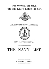 Navy List for April 1940
