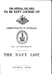 Navy List for April 1941
