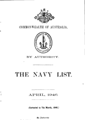 Navy List for April 1946