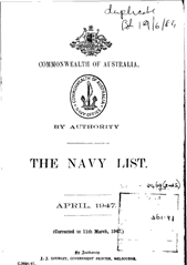 Navy List for April 1947