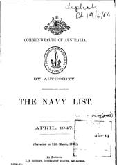 Navy List for April 1947
