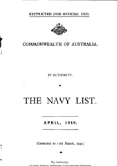 Navy List for April 1949